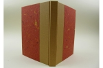 A quarter-cloth case binding, standing upright
